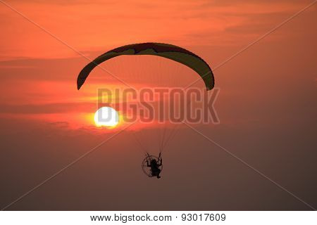 Paramotor and sunset