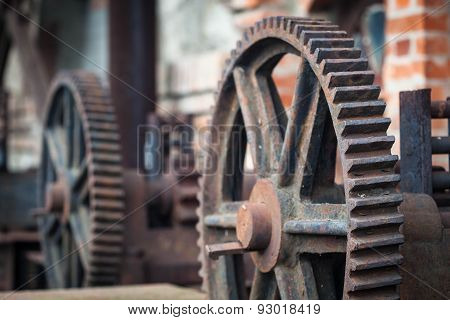 Old rusty gears, machinery parts