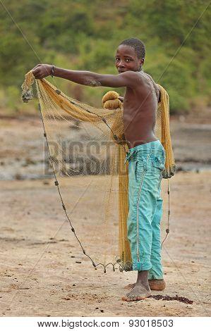 African boy fisherman