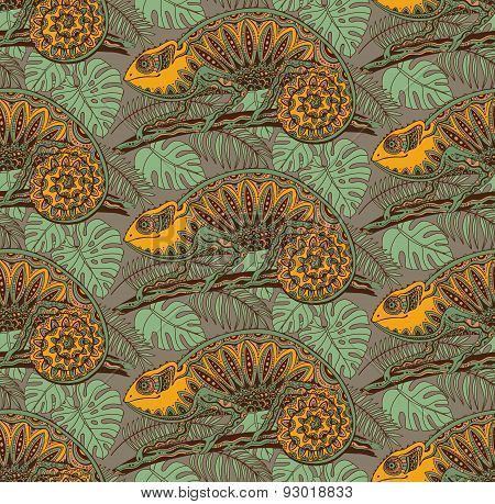 Seamless pattern with ornamental chameleons