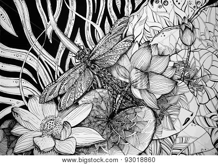 Beautiful graphic background with lotuses and dragonfly. Vector illustration.
