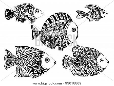 Black and white ornamental decorative fishes in tattoo style