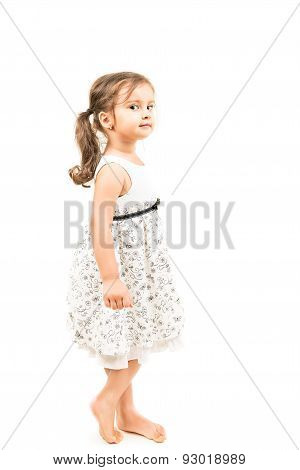 Cute Little Girl Standing Barefoot Isolated