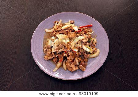 Fried spicy pork