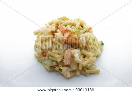 Macaroni, pasta with white cheese, shrimp, crab stick and onion