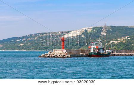 Entrance To Port Of Balchik, Red Lighthouse