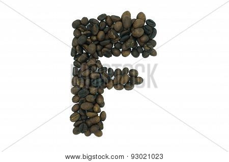 creative alphabet from coffee bean isolated on white background