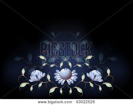 Fantastic blue flowers on a black base. EPS10 vector illustration