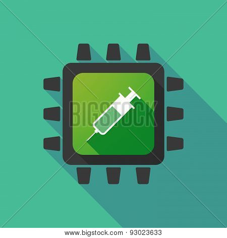 Cpu Icon With A Syringe