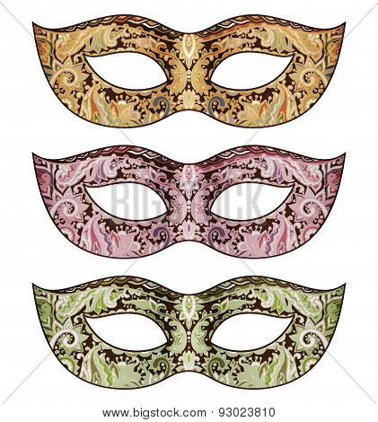 Set Of Three Vector Ornate Floral Venetian Carnival Masks