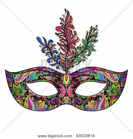 Vector Ornate Floral Venetian Carnival Mask With Feathers.