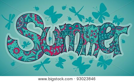 Vector Summer Text With Flowers, Dragonflies, Beetles And Butterflies