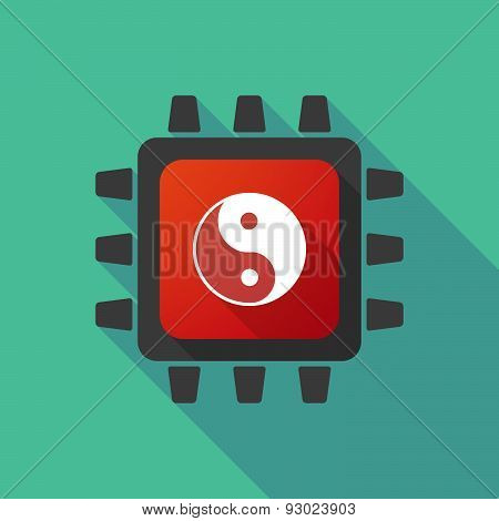 Cpu Icon With A Ying Yang Sign
