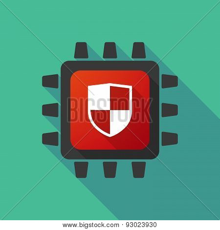 Cpu Icon With A Shield