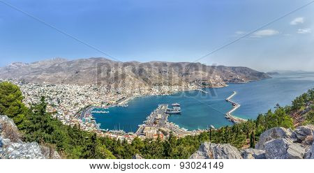 Panoramic View Of Pothia Capital Of Kalymnos Island In Dodecanese Greece