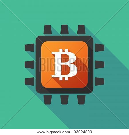 Cpu Icon With A Bitcoin Sign