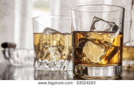 Glasses of whiskey