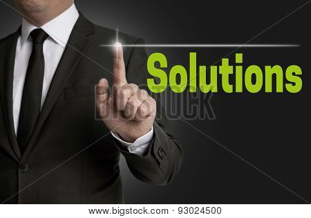 Solutions Touchscreen Is Operated By Businessman