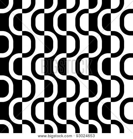 Seamless Wave and Stripe Pattern. Black and White Regular Texture