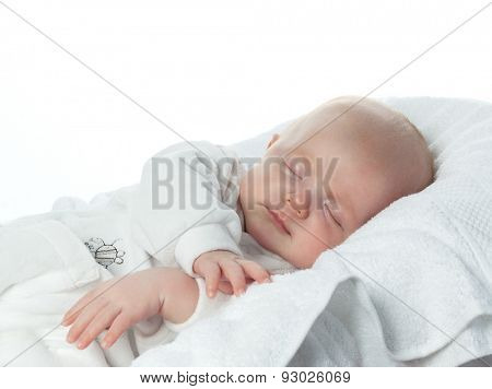 little child baby slipping on white