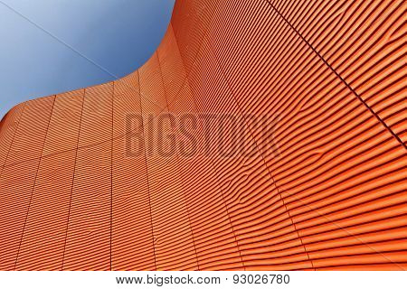 detail of waved structure and blue sky