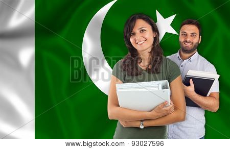 Couple Of Students Over Pakistan Flag