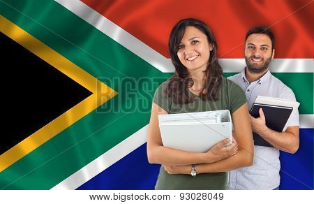 Couple Of Students Over South Africa Flag