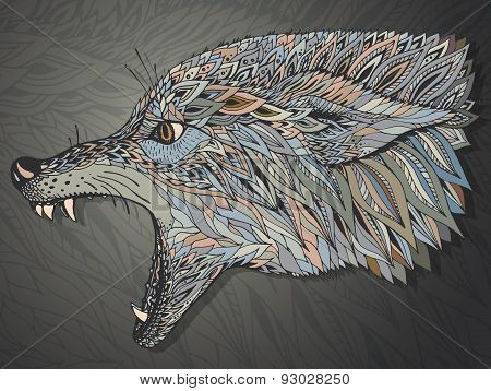 Patterned Head Of The Wolf. Tribal Ethnic Totem, Tattoo Design.