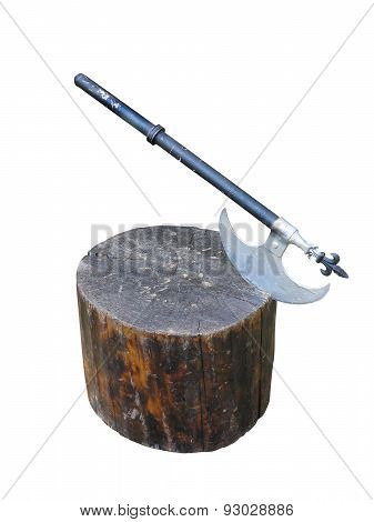 Medieval Battle Axe Weapon On Wooden Stump Isolated Over White