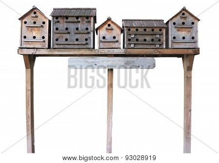 Old Wooden Starling Nesting Boxes Bird House Isolated Over White
