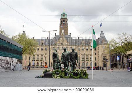 Rotterdam, Netherlands - May 9, 2015: People Visit Town Hall Of Rotterdam.