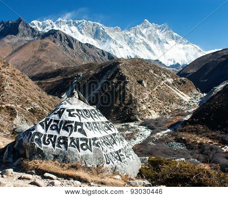 Mount Lhotse And Buddhist Symbols