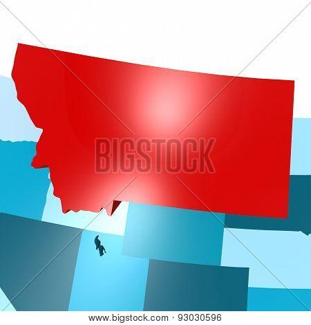 Montana Map On Blue Usa Map