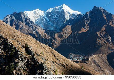 View Of Portse Village, Mount Cholatse And Tabuche Peak