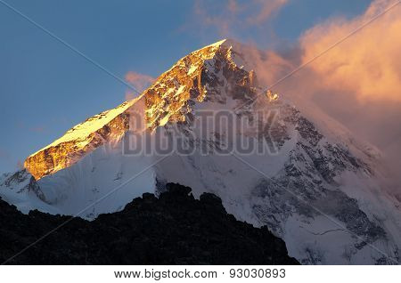 Evening View Of Mount Cho Oyu From Gokyo Ri