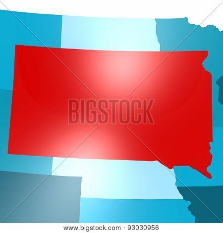 South Dakota Map On Blue Usa Map