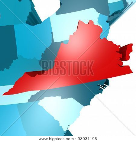 Virginia Map On Blue Usa Map