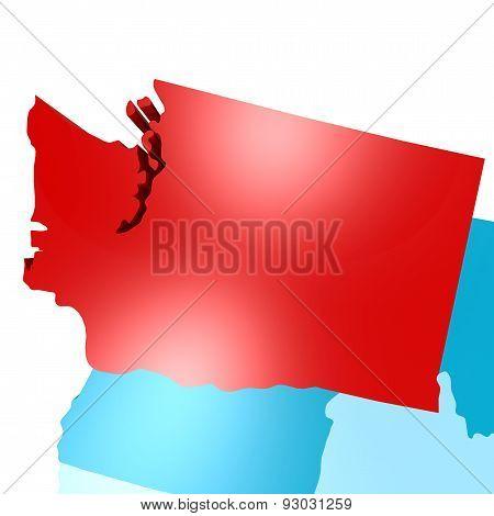 Washington Map On Blue Usa Map