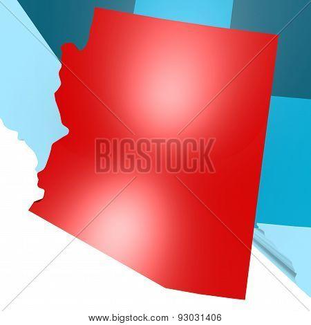 Arizona Map On Blue Usa Map