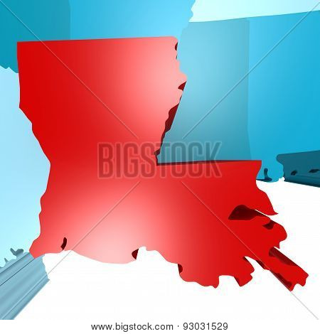 Louisiana Map On Blue Usa Map