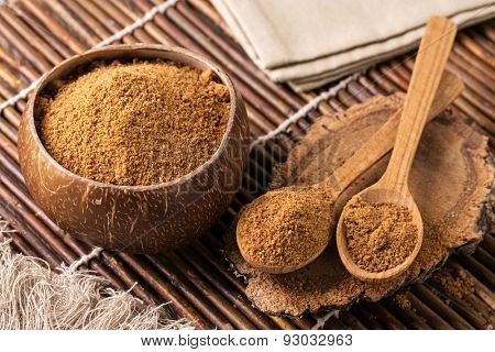 Coconut palm sugar in a bowl