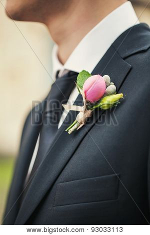 Boutonniere On A Black Jacket