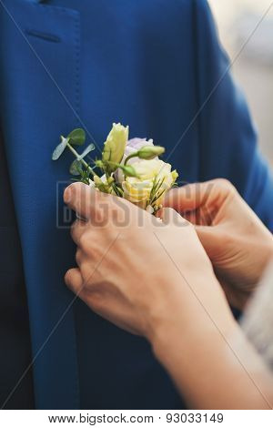 Buttonhole On A Blue Jacket
