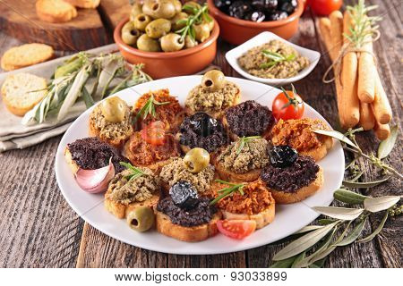 assortment of canape, appetizer