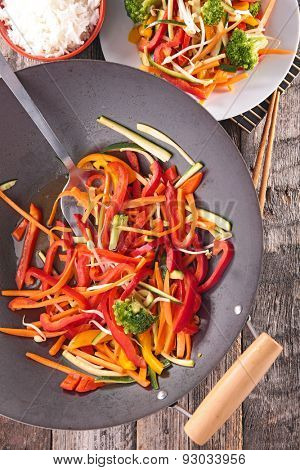 fried vegetable with wok