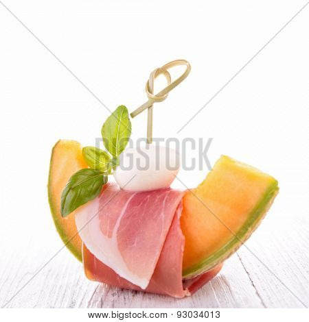 melon,proscuitto and mozzarella