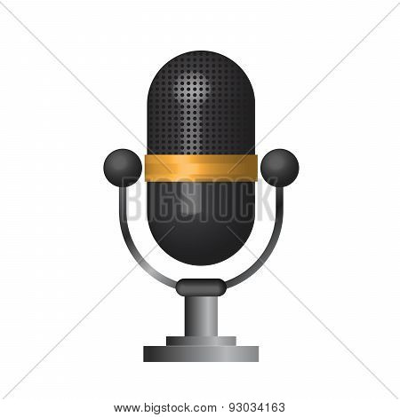 3D Classic Microphone Icon Symbol On White Background