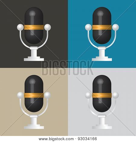 3D Microphone Icon, Classic Microphone Symbol On Color Background