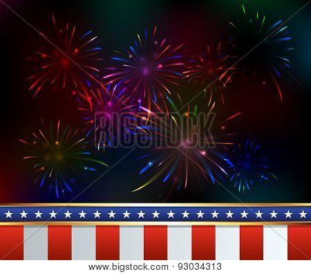 Fourth Of July Fireworks Background Illustration