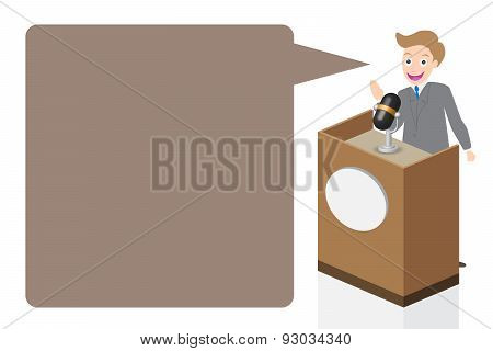 Businessman Speaking On Stage With Microphone And Podium, Illustration, Vector
